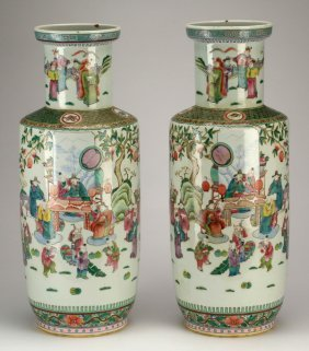"(2) Chinese Famille Rose Rouleau Vases, 23""h"