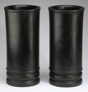 """Chinese Ebonized Bamboo Scroll Pots, 13""""h"""