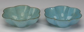 """(2) Chinese Song Style Lotus Bowls, 5""""w"""