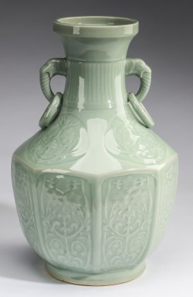 """Chinese Relief Molded Celadon Vase, 15""""h"""