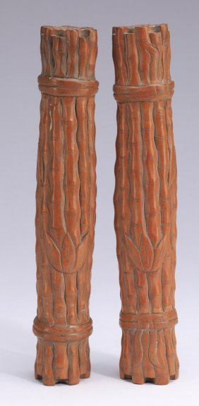 """(2) Chinese Carved Wood Scroll Weights, 9"""" L"""