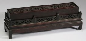 """Chinese Carved Incense Holder, 12""""l"""