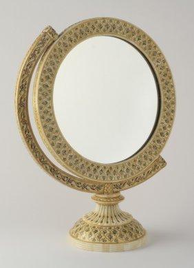 """Enameled Bone Inlaid Vanity Mirror, 18""""h"""