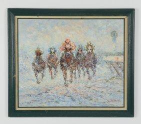 "American School O/c 'the Horse Race', 28""w"