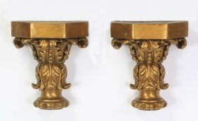 (2) Neoclassical Style Giltwood Wall Brackets