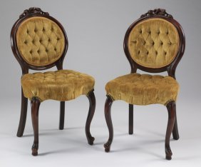 Pair Of Button-tufted Victorian Style Chairs