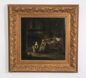 19th C. Dutch O/c Of An Interior Scene
