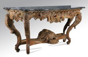 """Rococo Revival Carved Marble Top Console, 78"""""""