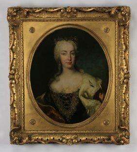 19th C. Continental O/c Portrait Of A Lady