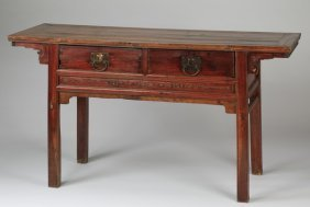 "Chinese Carved Console Or Altar Table, 61""l"