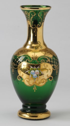 "Bohemian Emerald Green And Gilt Vase, 12""h"
