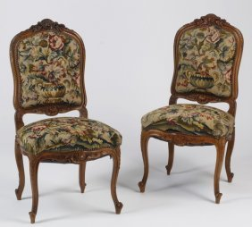 (2) 19th C. French Needlepoint Side Chairs