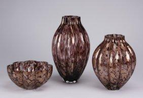 (3) Contemporary Blown Art Glass Vessels
