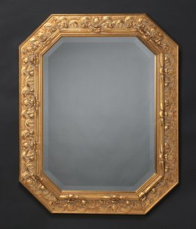 Italian Beveled Mirror W/ Carved Gilt Frame