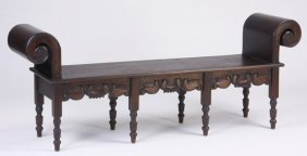 Handcrafted Spanish Style Carved Bench