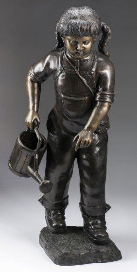 """Bronze Sculpture, 'young Gardener', 36""""h"""