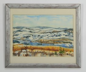 Contemporary W/c, Snowy Landscape, Signed