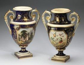 """(2) 19th C. Derby Porcelain Vases, 12""""h"""