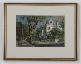 Frank Beatty Pastel On Paper Nantucket Scene
