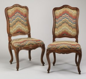 (2) French Provincial Walnut Side Chairs