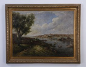 19th C. Continental Oil On Canvas Landscape