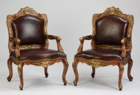 (2) Carved Mahogany Armchairs In Leather