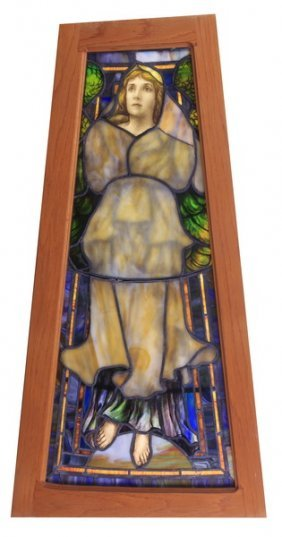 "Stained And Leaded Glass Window, 49.75""h"