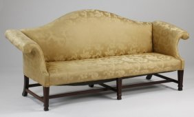 """Early 20th C. Camel Back Sofa In Damask, 92""""l"""