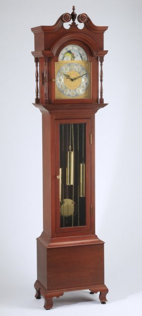 """Federal Style Cherry Tall Case Clock, 86""""h"""