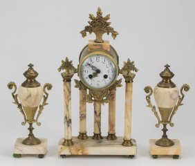 "Gilt Bronze And Marble Clock Garniture, 15""h"