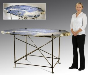 Hand Crafted Industrial Steel, Granite Table