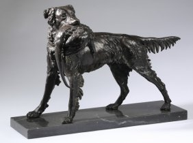 """Bronze Sculpture Of A Hunting Dog, 22""""l"""