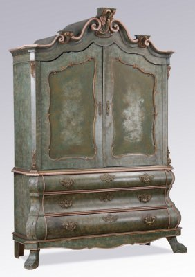 Dutch Rococo Style Paint Decorated Armoire