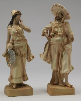 (2) 19th C. Continental Figurines, Marked