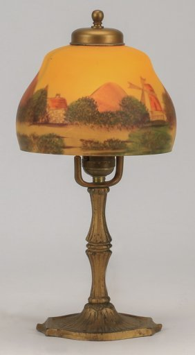 "Reverse Painted Glass Boudoir Lamp, 14""h"