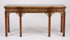 "Carved Mahogany Console Table, 72""l"