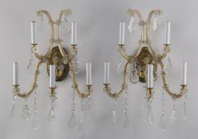 """(2) French Rococo Style Crystal Sconces, 16""""h"""