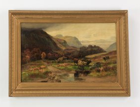 Signed O/c Of Highland Cattle, 19th C.