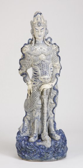 "Chinese Ceramic Warrior Sculpture, 48""h"