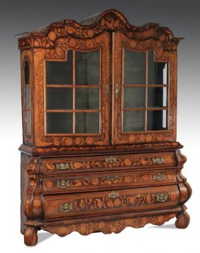 "Dutch Inspired Marquetry Inlaid Cabinet, 81""h"