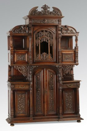 19th C. Renaissance Revival Walnut Cabinet