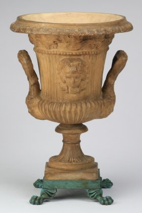"20th C. Terracotta Campana-form Urn, 18""h"