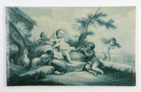 "19th C. Grisaille O/c With Putti, 47""w"
