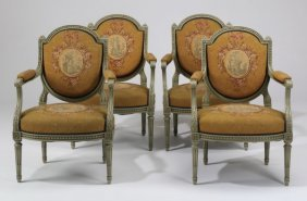 (4) French Armchairs In Needlepoint