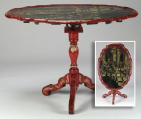 Rococo Style Paint Decorated Tilt Top Table