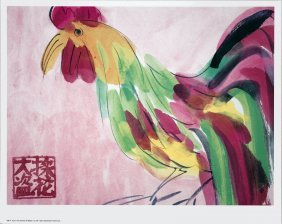 1991 Ting Cock In Pink And Green Poster