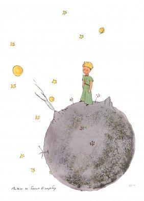 Le Petit Prince Et Son Asteroide Lithograph