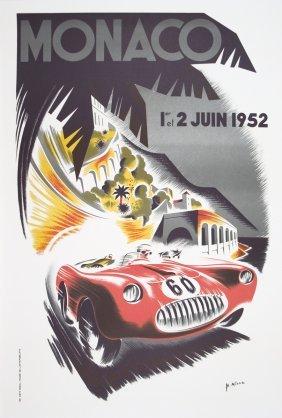 1995 Minne Monaco Grand Prix 1952 Lithograph
