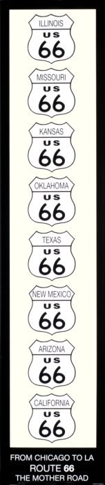 Kennedy Route 66 (black W/ Ivory) Poster