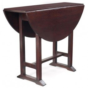 Gustav Stickley Table, #672, Drop-leaf Form On A Sho